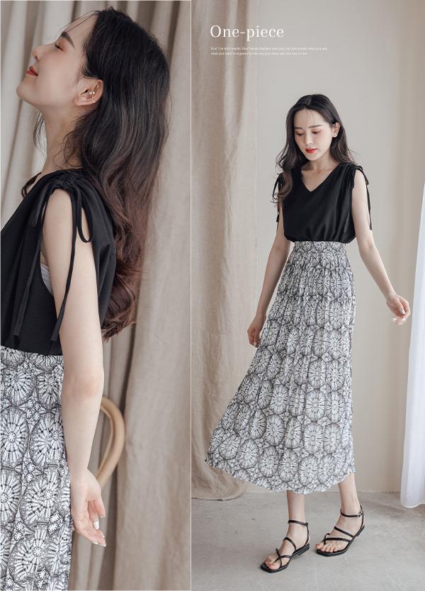 顯瘦黑上衣+印花裙套裝