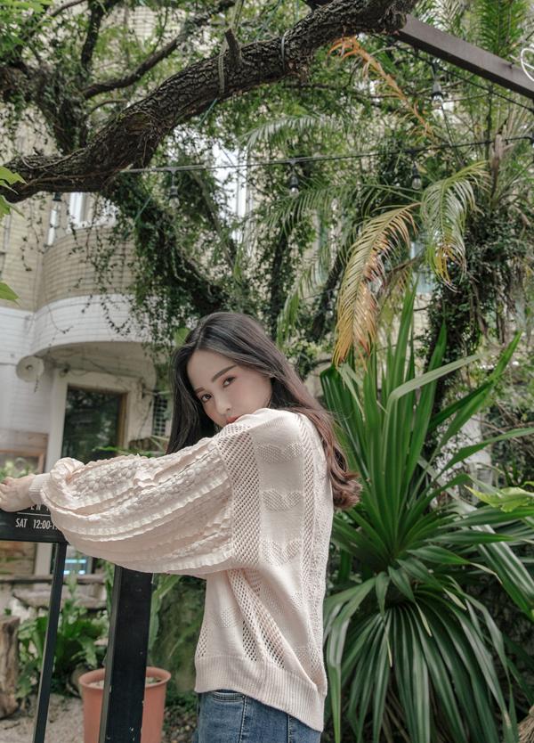 花網蕾絲袖針織上衣